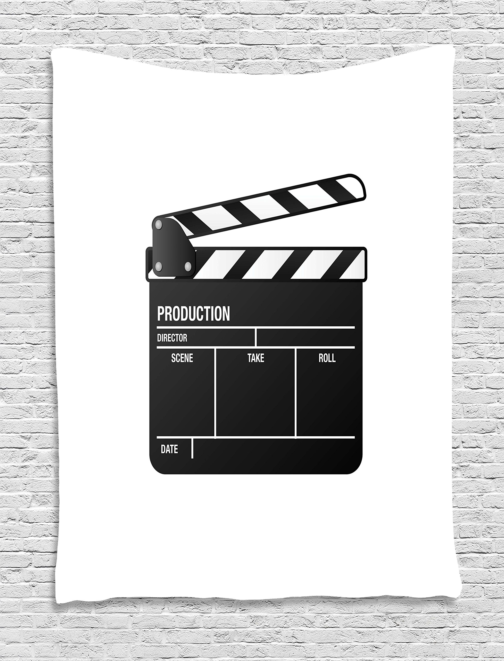 Ambesonne Movie Theater Tapestry, Realistic Illustration of a Clapper Board Symbol for Film and Video Industry, Wall Hanging for Bedroom Living Room Dorm, 40 W X 60 L inches, Black White