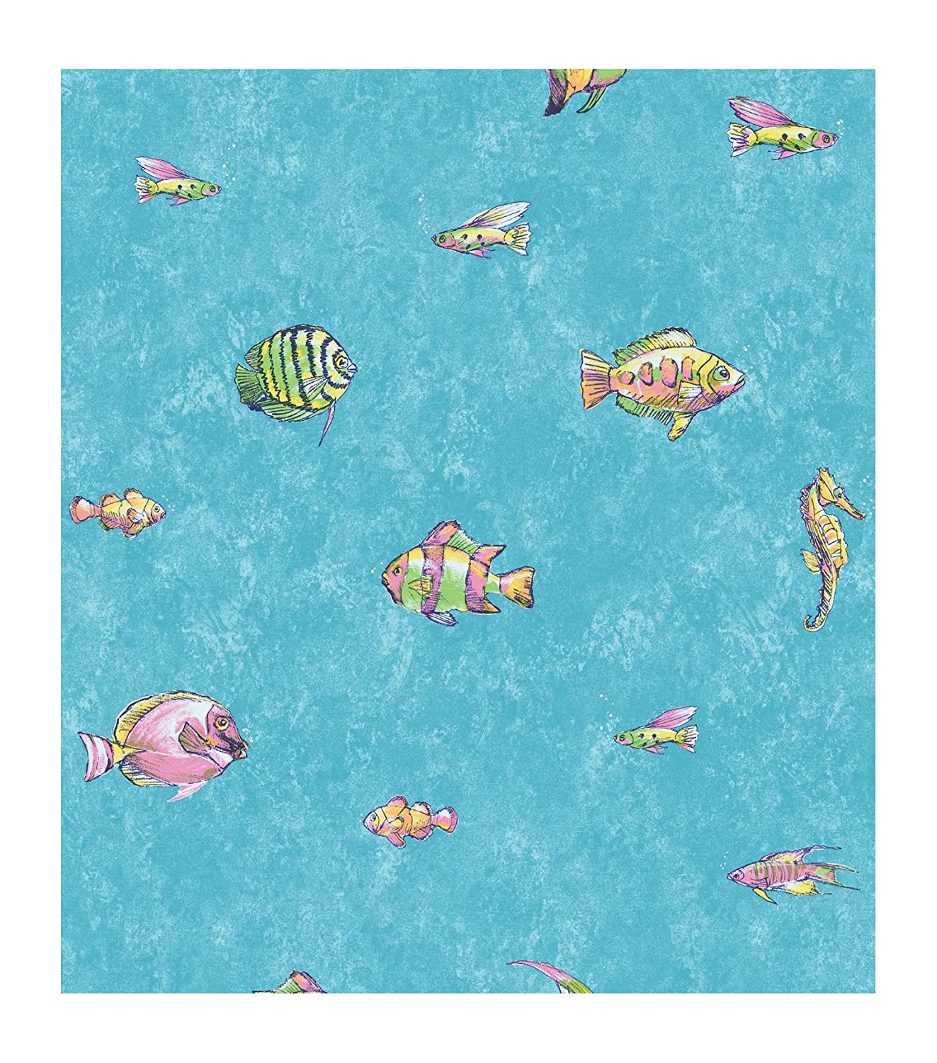 York Wallcoverings CK7604SMP Candice Olson Kids Under The Sea 8 X 10 Wallpaper Memo Sample Aqua