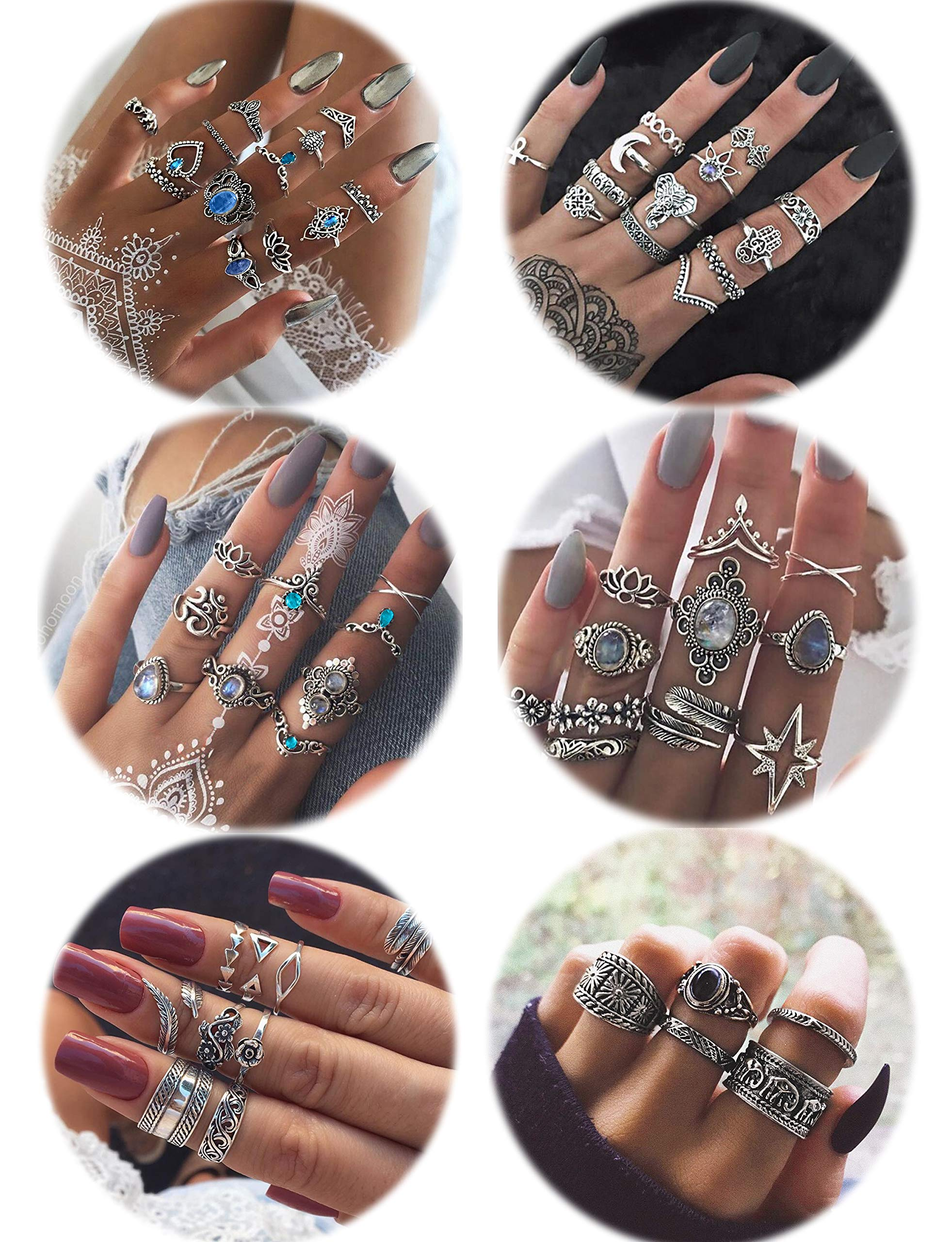 LOLIAS 60 Pcs Vintage Knuckle Ring Set for Women Girls Stackable Rings Set Hollow Carved Flowers