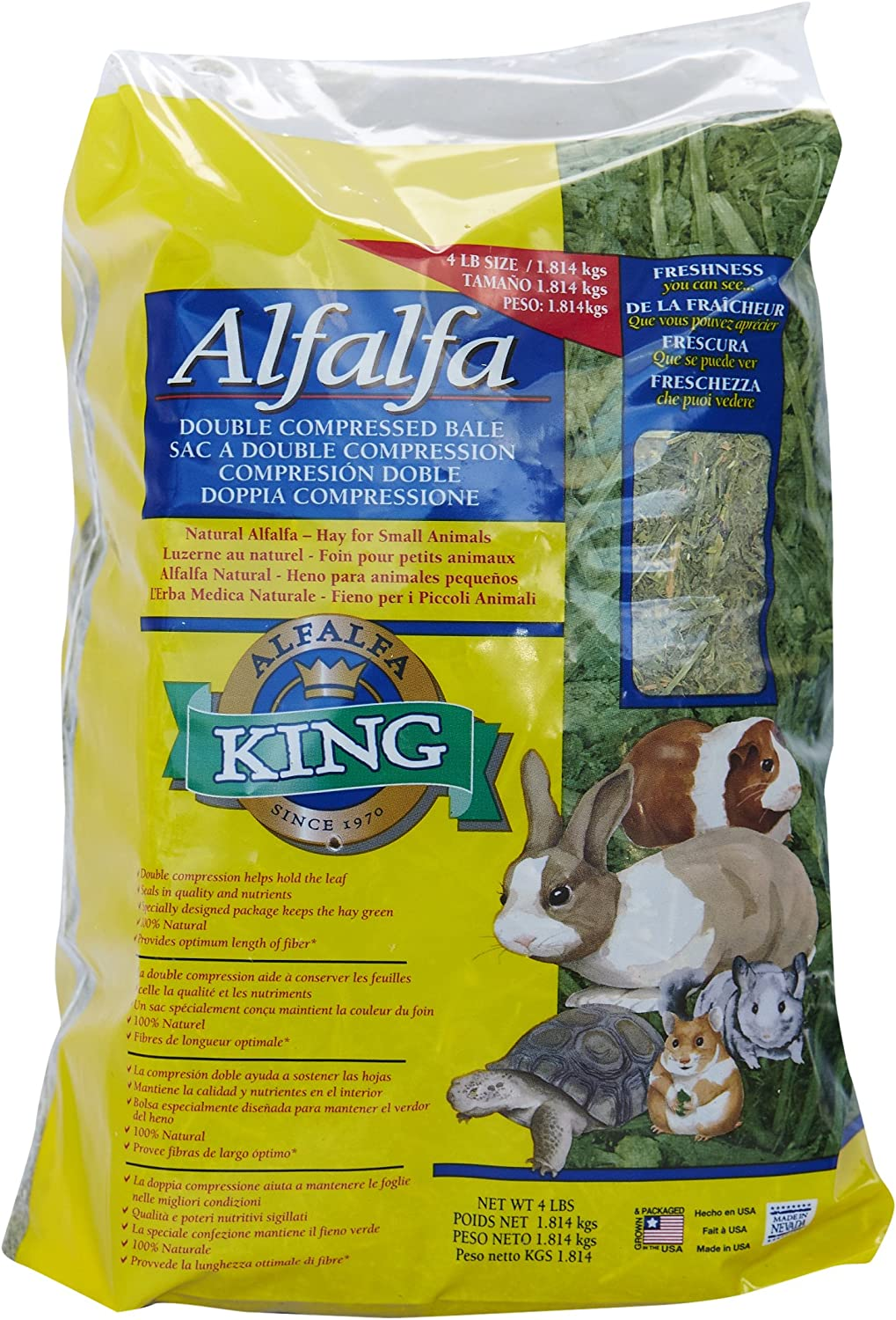 Alfalfa King Double Compressed Alfalfa Hay Pet Food Treat, 12 By 9 By 5-Inch