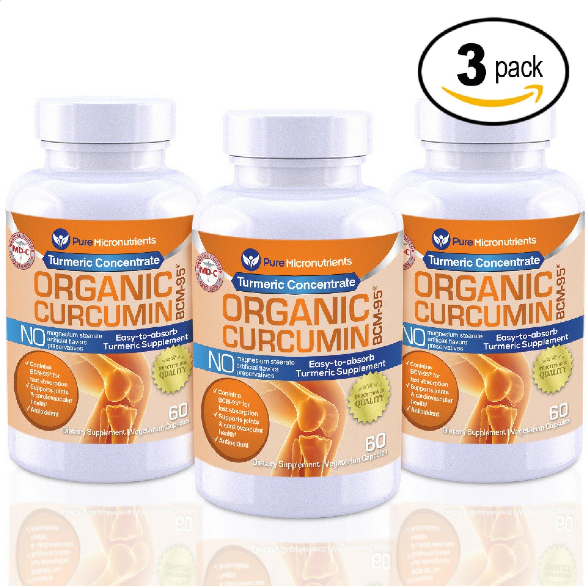 Pure Micronutrients Turmeric Curcumin BCM-95 Supplement + Black Pepper, ORGANIC, Vegan, 60 Veg. Capsules, 1000 mg (Mega 3 Pack!)