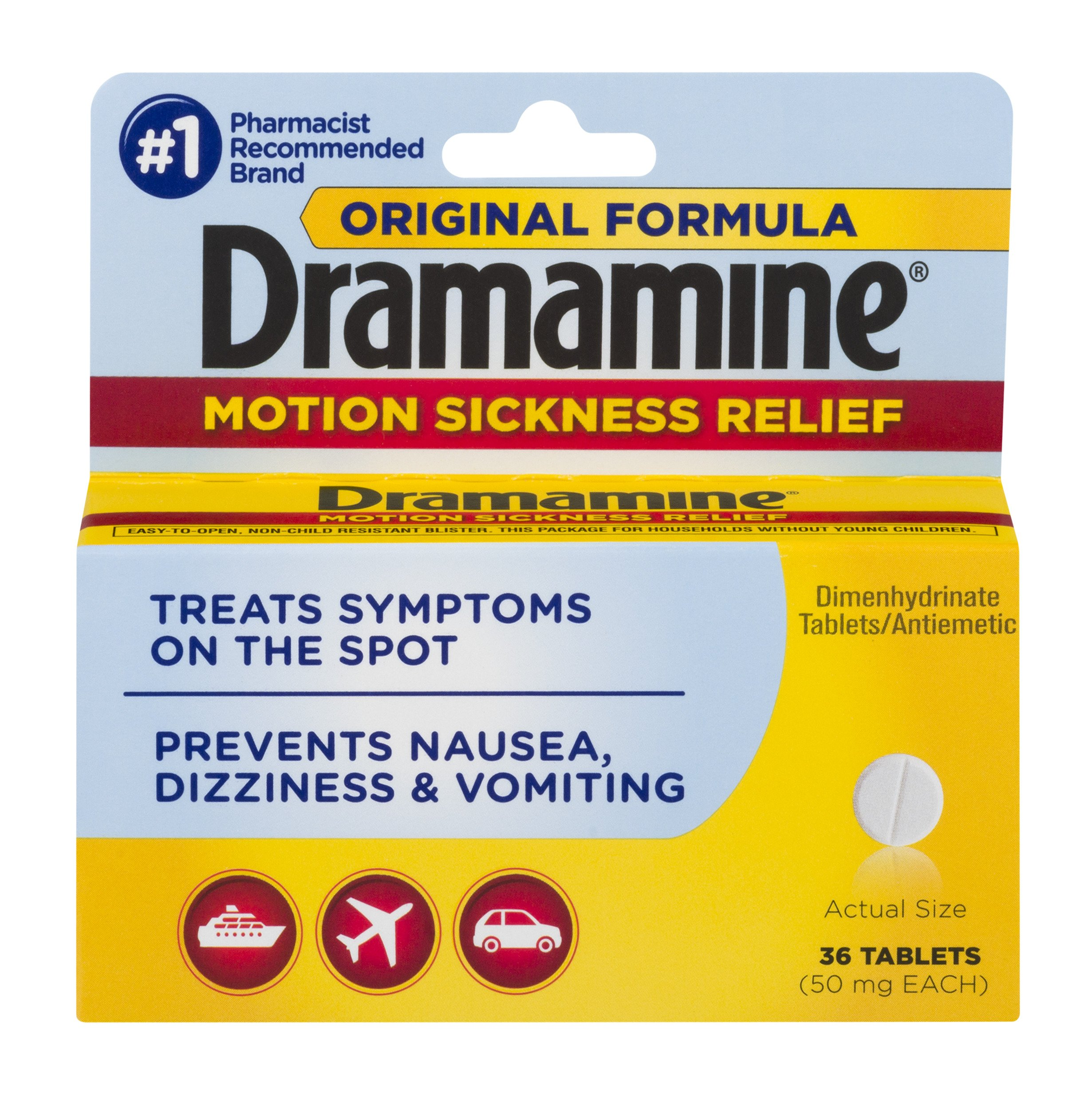 Dramamine Motion Sickness Relief Original Formula | 36 Tablets | Prevents Nausea, Dizziness, and Vomiting