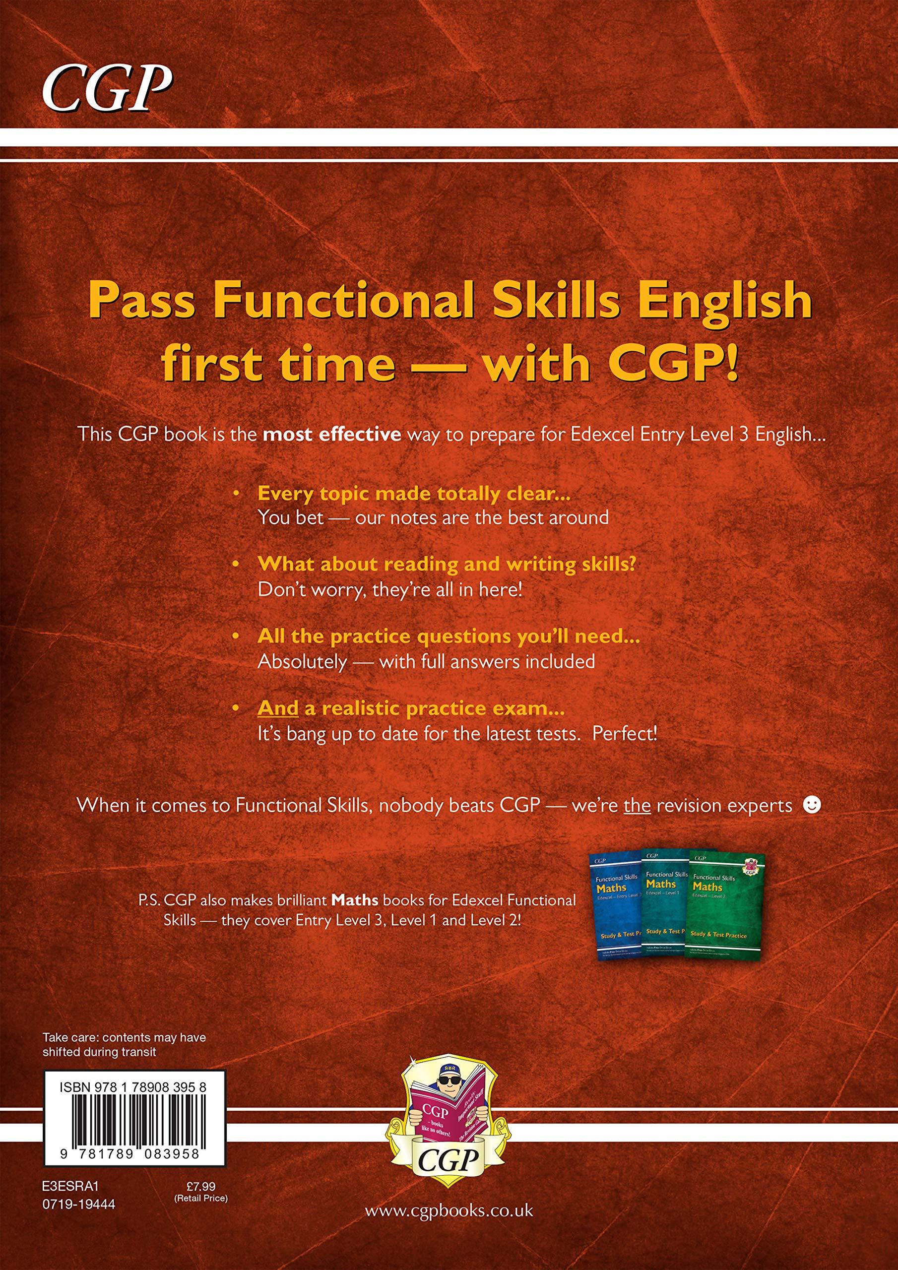 New Functional Skills English: Edexcel Level 1 - Study & Test Practice (for  2020 & beyond) (CGP Functional Skills): Amazon.co.uk: CGP Books, CGP Books:  9781789083972: Books