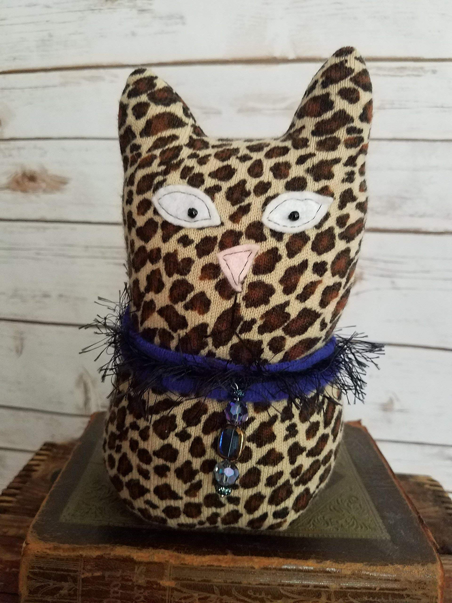 9'' Tall Ragamuffin Ugly Sweater Handmade Kitty Cat Art Doll Leopard Stuffed Animal Cat Lovers Gift by Scaredy Cat Primitives