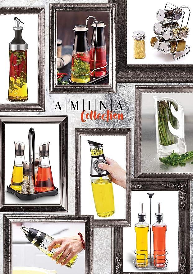 A|M|I|N|A|a Vinagre y Aceite dispensador - Kit de 3 Piezas, 2 x 350 ML Botellas de Cristal y Metal, Innovador Anti de Suciedad de Cierre: Amazon.es: Hogar