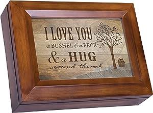 Cottage Garden Love You a Bushel Peck Hug Woodgrain Digital Keepsake Music Box Plays Good Morning Beautiful