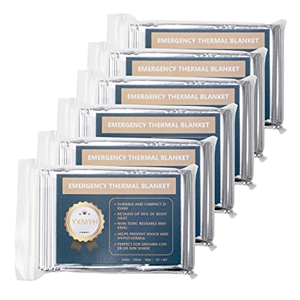 ,Designed for NASA with up to 90/% Emergency Mylar Thermal Blankets Pack of 6