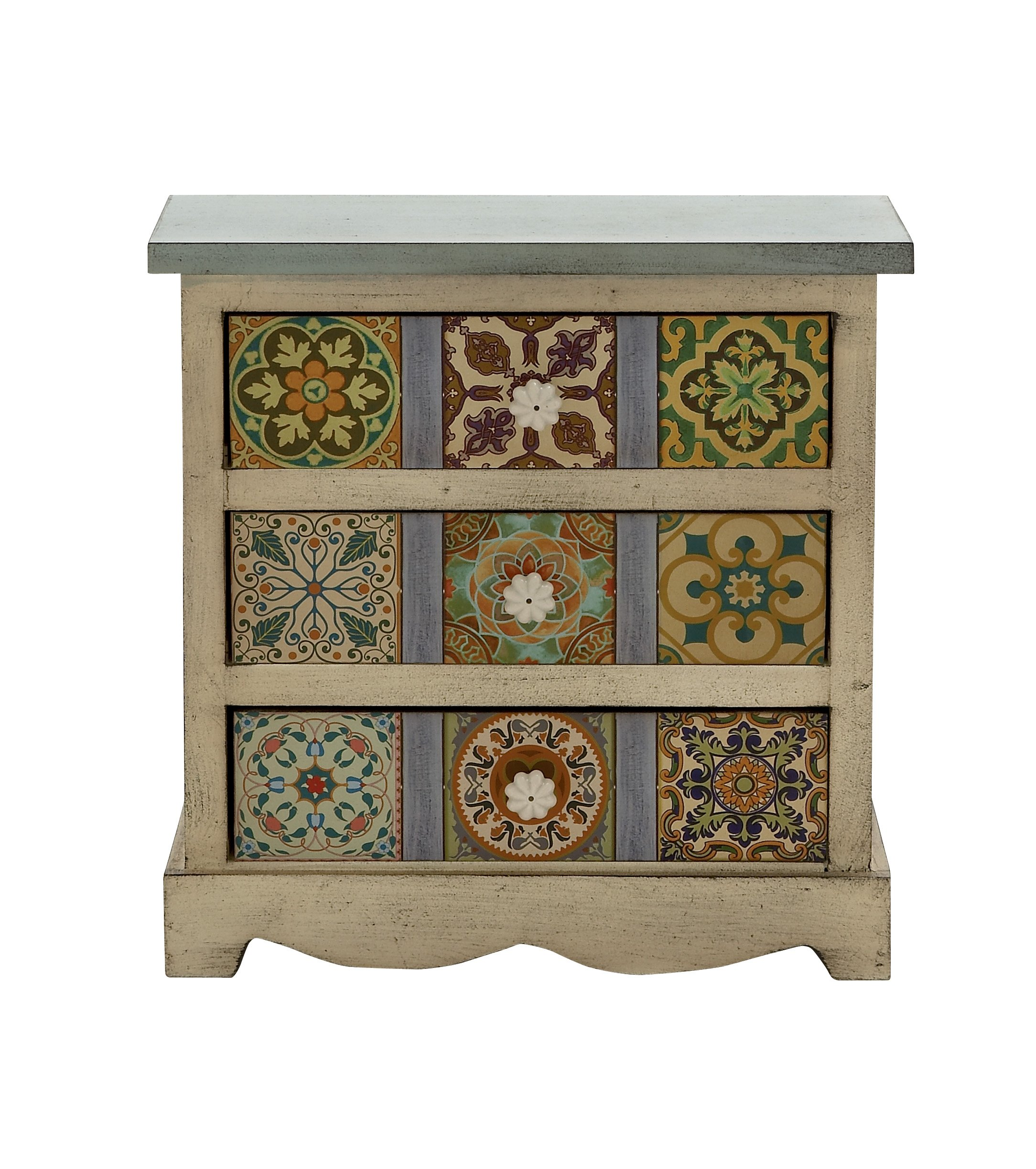 Deco 79 56650 Wood Canvas Table Chest, 14'' x 14''