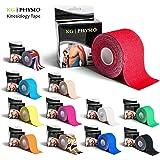 KG | Physio Bande de kinésiologie–Maintien musculaire vierge ruban adhésif Rouleau de 5cm X 5m–12couleurs de qualité premium Kinesio Disponible pour blessure sportive