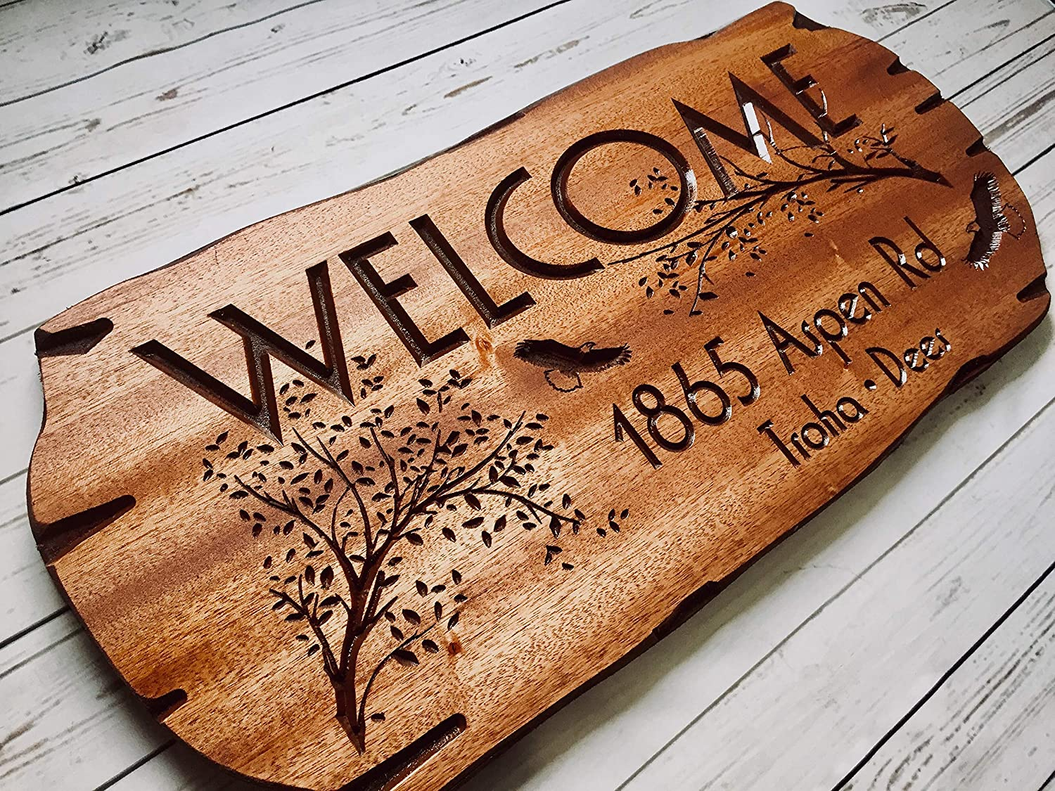 Amazon.com: Personalized Wooden Sign Address Sign Outdoor ...