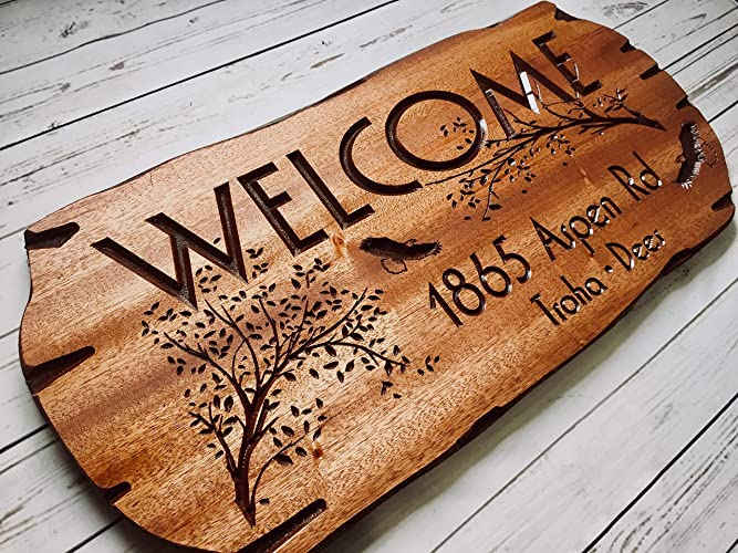 Personalized Wooden Sign Address Sign Outdoor Welcome Family Cabin Sign
