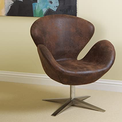 Blake Brown Aged Microfiber Swan Design Chair W/ Swivel Seat