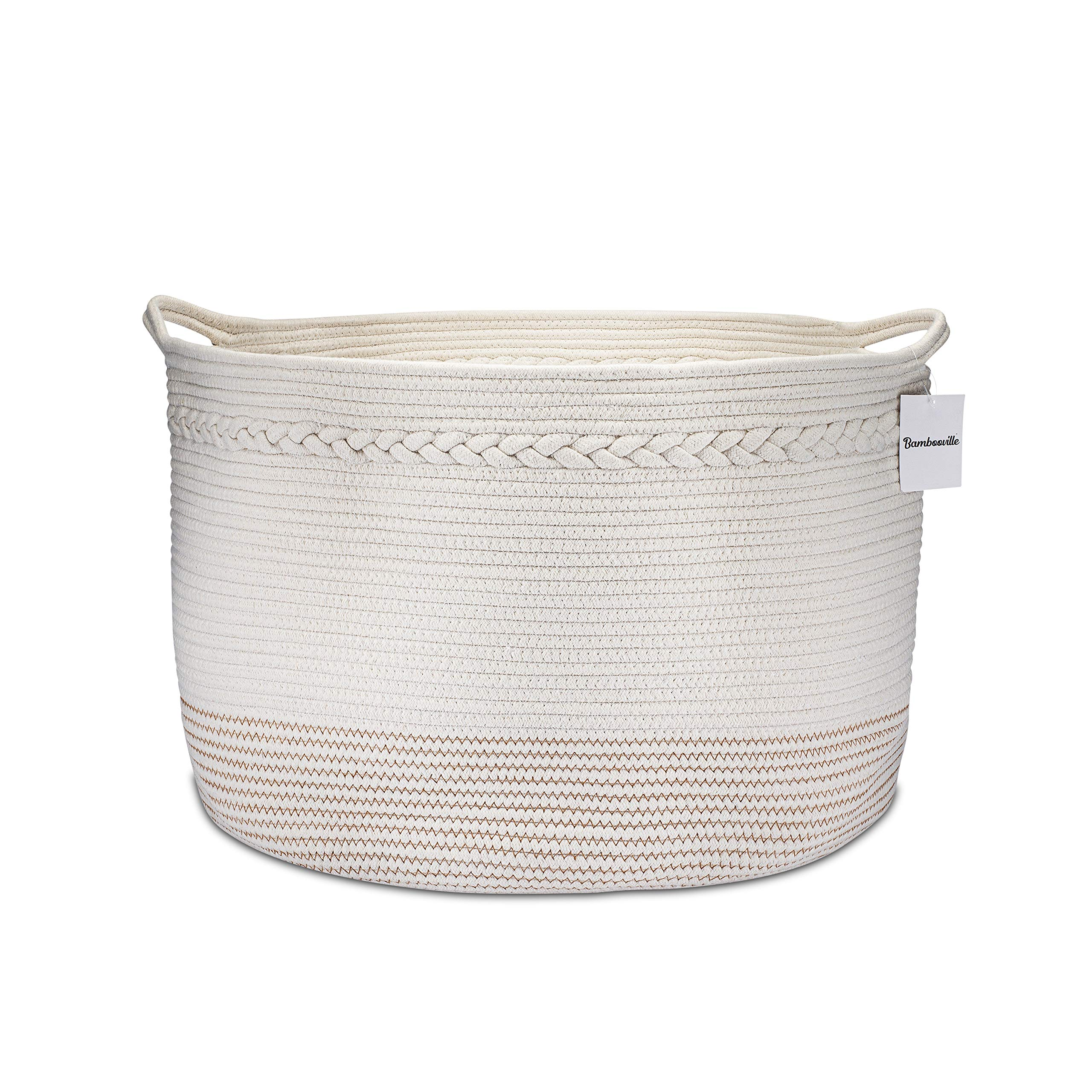 Bambooville Cotton Rope Basket Extra Large XXXL 21.8''x 13.8'' for Toy Storage Blanket Basket Toy Bin and Baby Laundry Basket -Brown Thread by Bambooville Rope Basket
