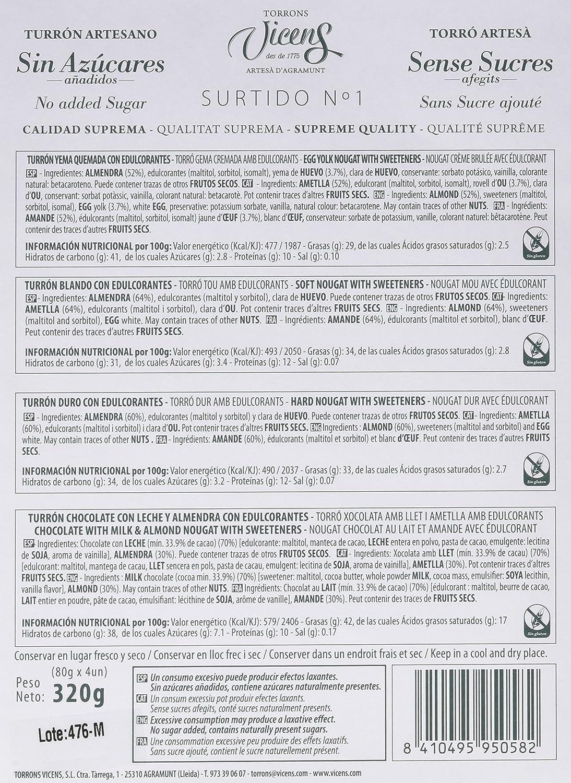Vicens Estuche Turrónes sin Azúcar - Pack de 4 x 80 g - Total: 320 g: Amazon.es: Amazon Pantry
