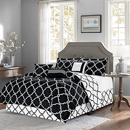 oversized reversible 11 piece geometric comforter set modern bedding overstock sale black - Overstockcom Bedding