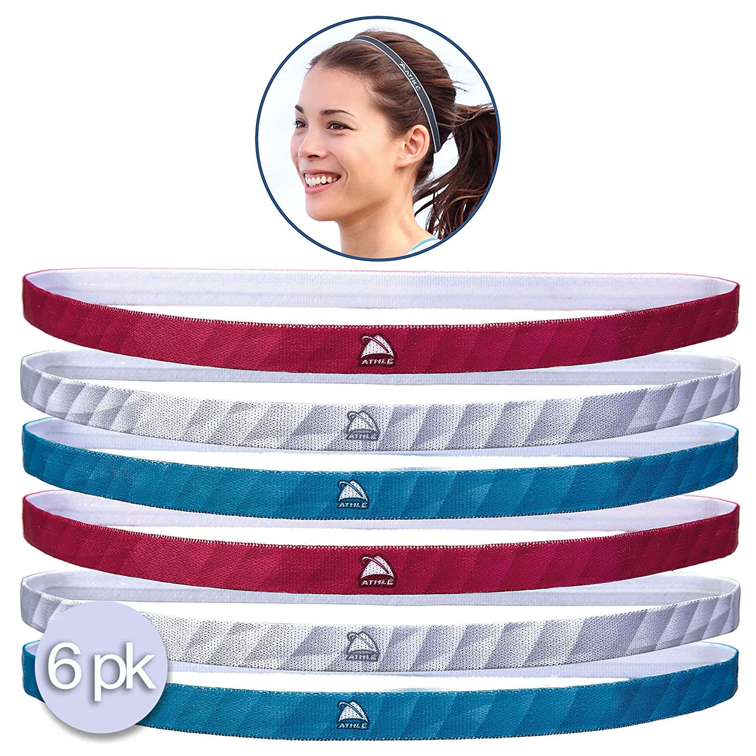 Athle` Non Slip Skinny Sport Headbands With Silicon Grip - 6pk Athle`Sport Inc.