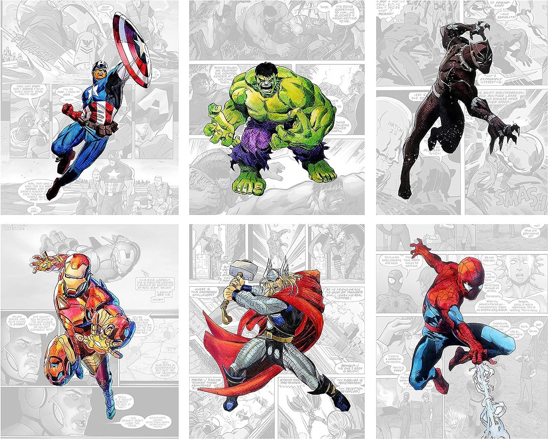 Superhero Wall Decor - Avengers Wall Art – Unframed Set of 6 Prints, 8x10 Inch, Spiderman Hulk Captain America Thor Ironman Black Panther Posters Vintage Comic Background