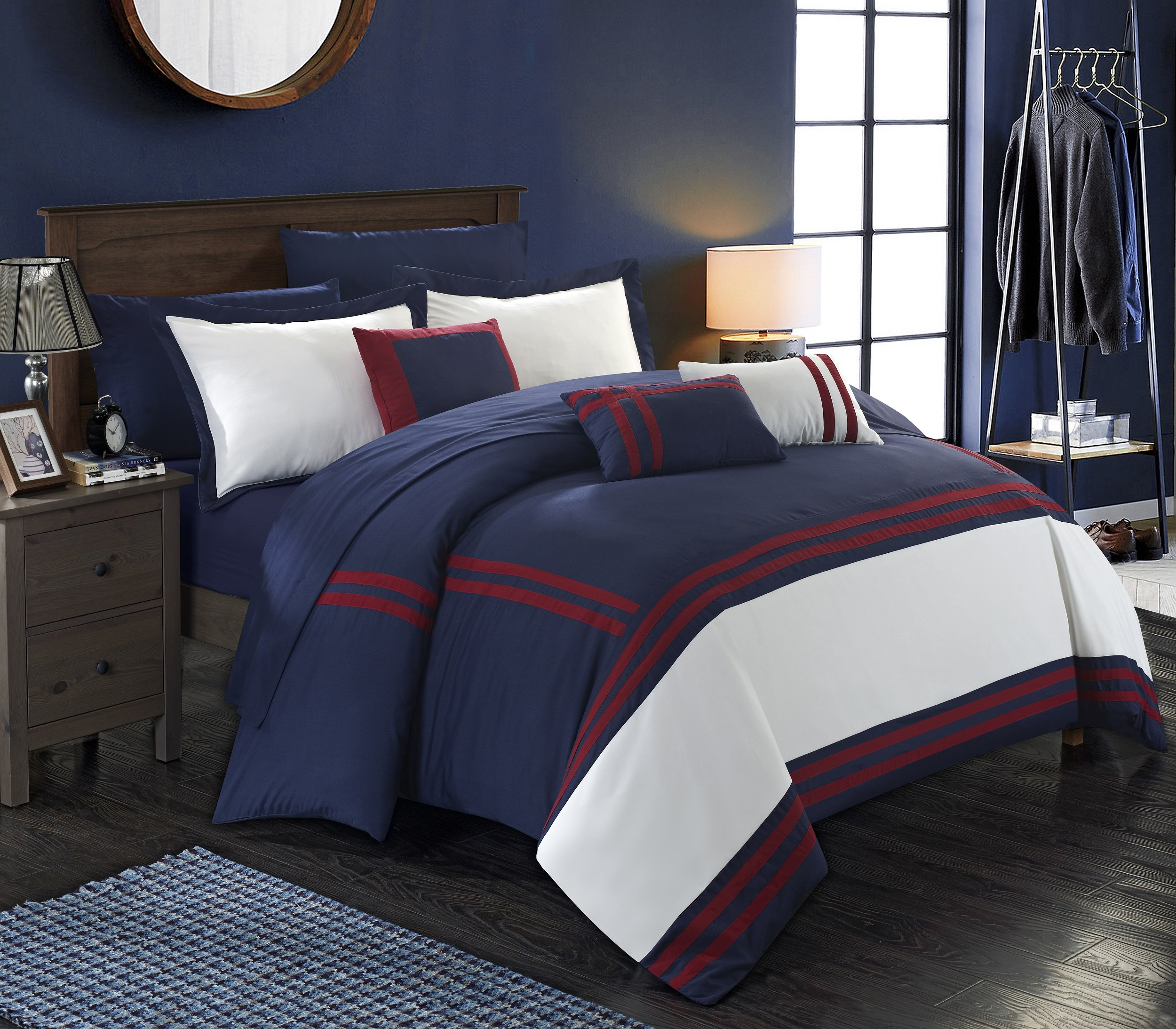 Chic Home Zarah 10 Piece Comforter Set Complete Bed in a Bag Pieced Color Block Banding Bedding with Sheet Set And Decorative Pillows Shams Included, Queen Navy