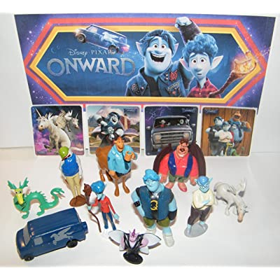 Onward Movie Quality Figure Set of 10 with 4 Fun Stickers Featuing Brothers Ian, Barley, Father Wilden, Pixie Dewdrop, Magical Dragon, Guinevere Van and Many More!: Toys & Games