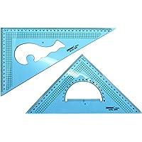 Yosogo Pack of 2 Pcs Large Transparent Plastic Giant Set Square Meric Triangle Ruler 30cm (12 Inch) - 30/60 Degree & 22…