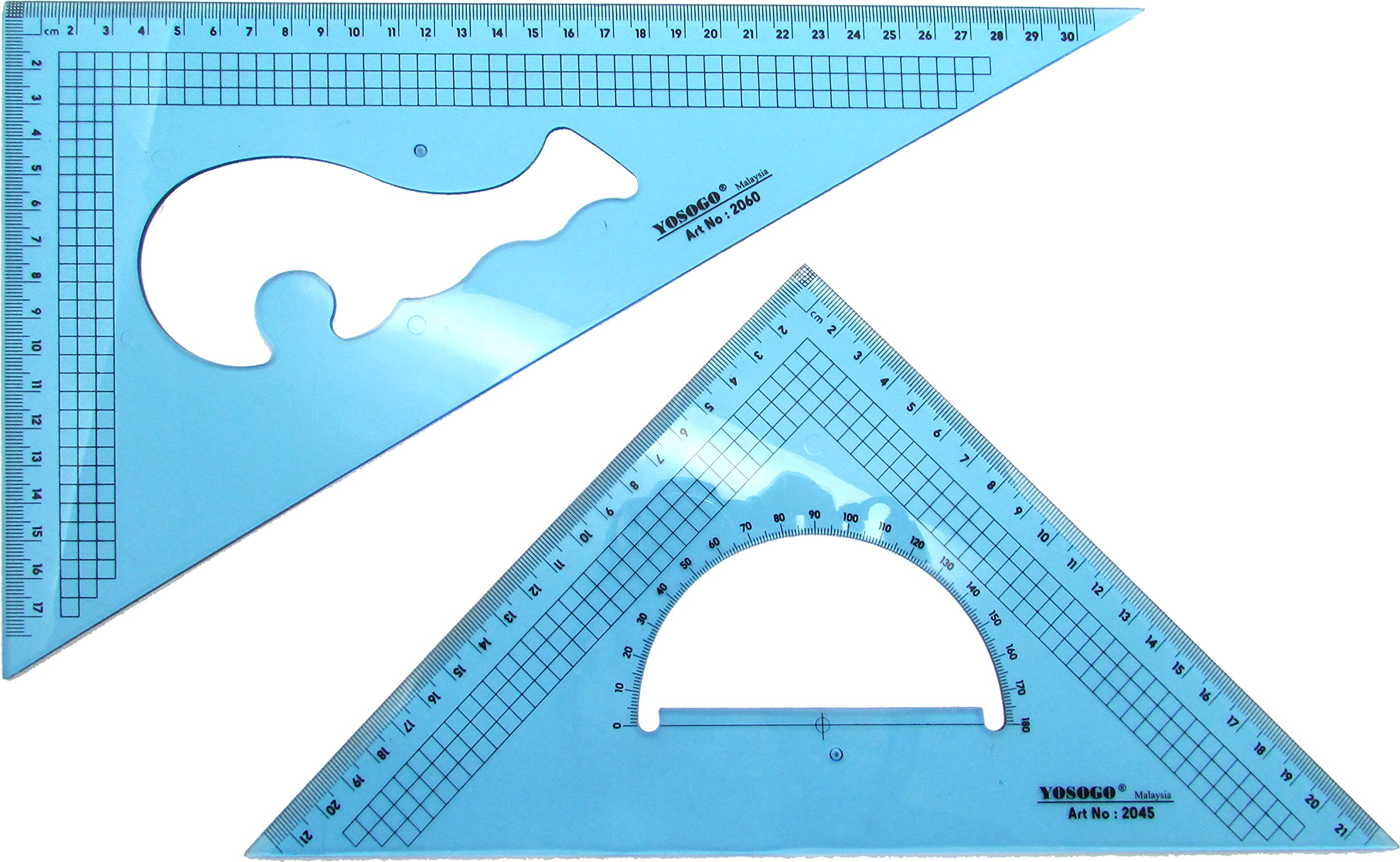 Set of 2 Large Triangle Ruler Set Square: 12 Inch (30 cm) 30/60 Degree & 9 inch (22 cm) 45/90 Degree (CM Scale) by Yosogo