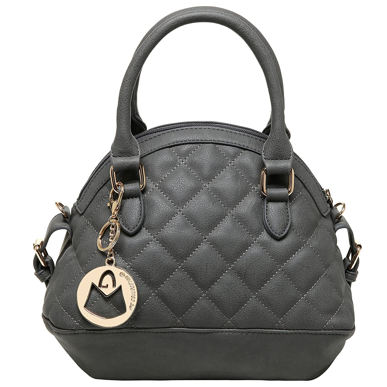 MG Collection IMANI Small Dual Textured Bowling Bag Style Quilted Satchel Purse