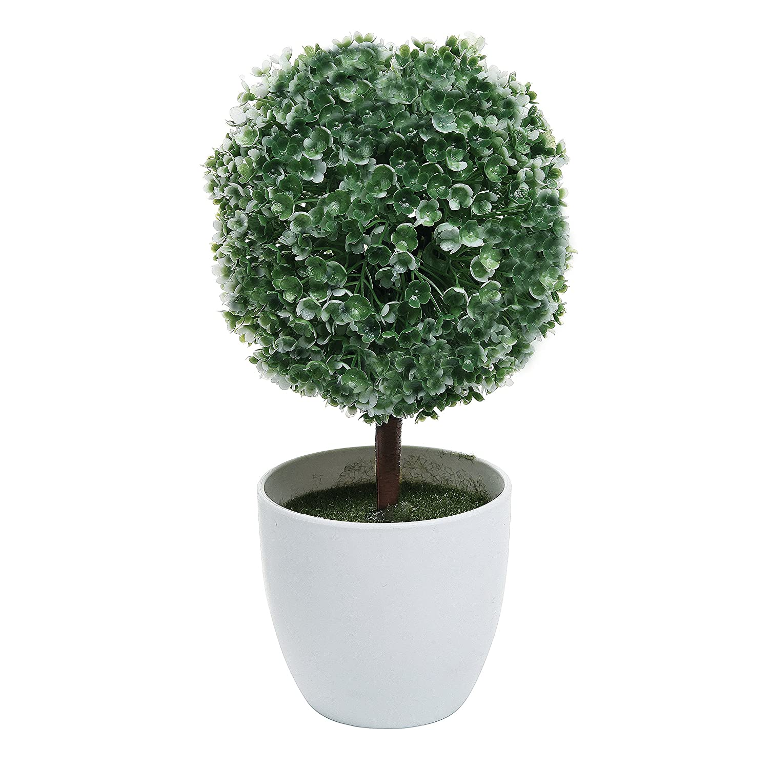 Artificial Topiary Trees Cheap Part - 46: Amazon.com - Set Of 2 Artificial Faux Potted Tabletop White Flower Plant  Topiary W/ White Planter Pots - MyGift Home -