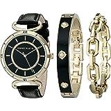 Anne Klein Women's AK/1938GBST Gold-Tone Swarovski Crystal-Accented Black Leather Strap Watch and Bracelet Set