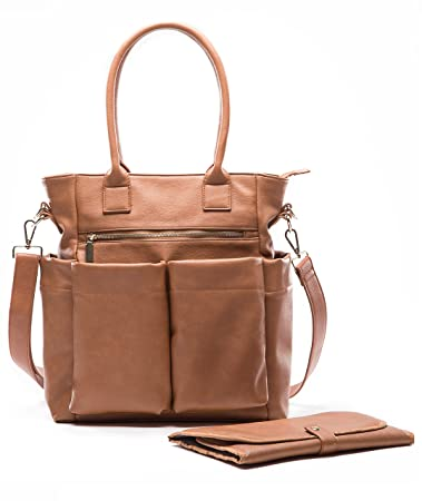 Miss Fong Leather Diaper Bag for Moms with Chaining pad,Wipes Pouch, Stroller Straps