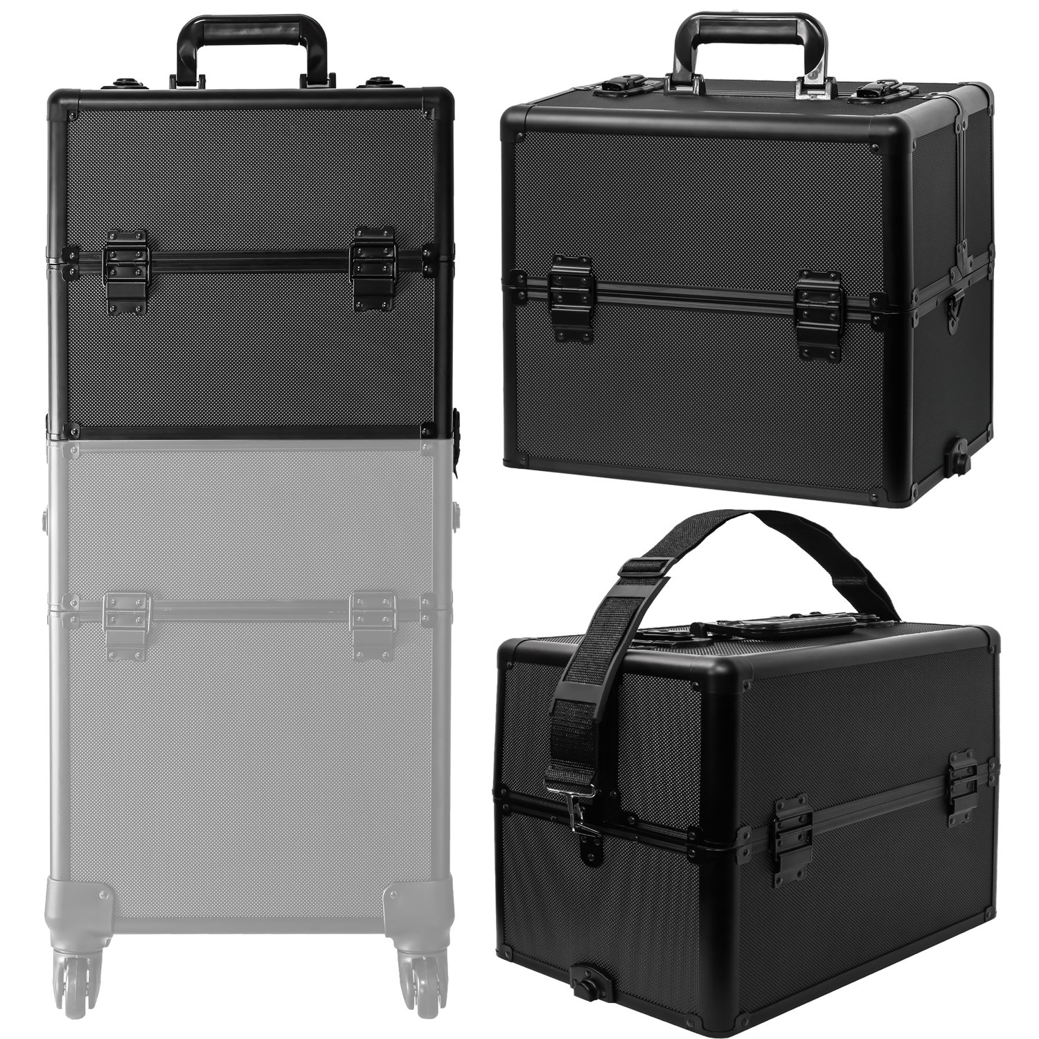 Koval Inc. 4-wheel Rolling 2in1 Makeup Train Cosmetic Case Black by KOVAL INC. (Image #5)