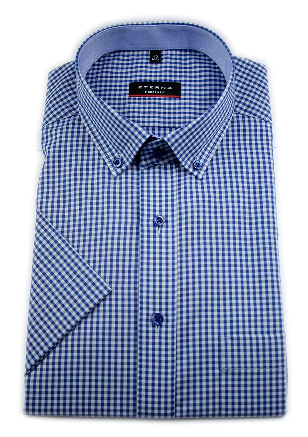Eterna Half Sleeve Shirt Modern FIT Poplin Checked