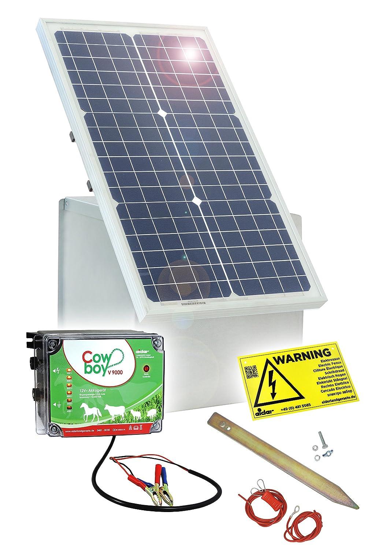 Weidezaun SOLAR-SET: 30W Solar Box & 12V Weidezaungerät | Elektrozaun für mittlere bis lange Zäune - extrem lange Batterielaufzeit - im Sommer kein laden notwendig
