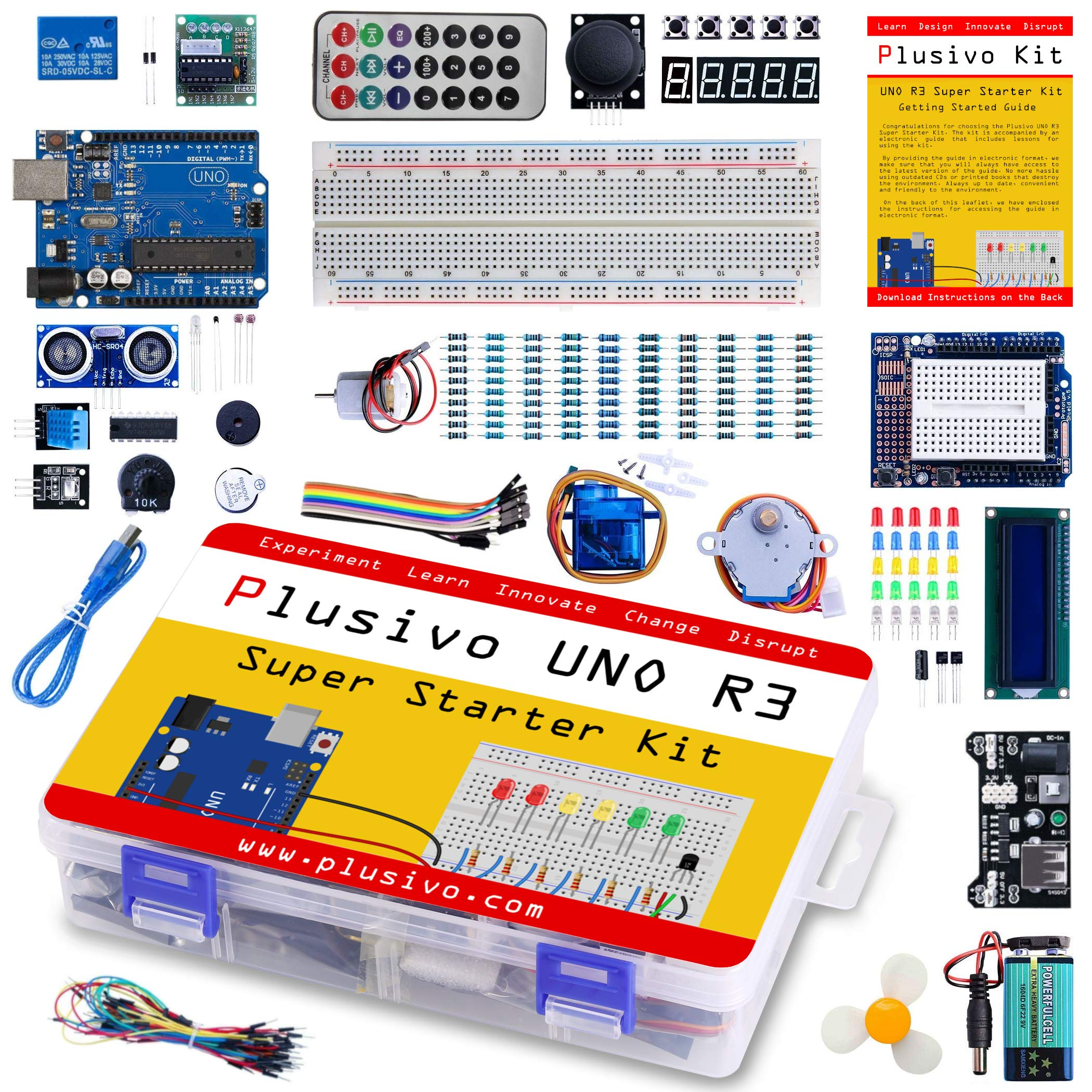 Plusivo UNO R3 Super Starter Kit - Complete UNO R3 Kit for Arduino Programming and Development - Includes a Development Board Compatible with Arduino UNO R3 - A Beginner's Inventor Kit