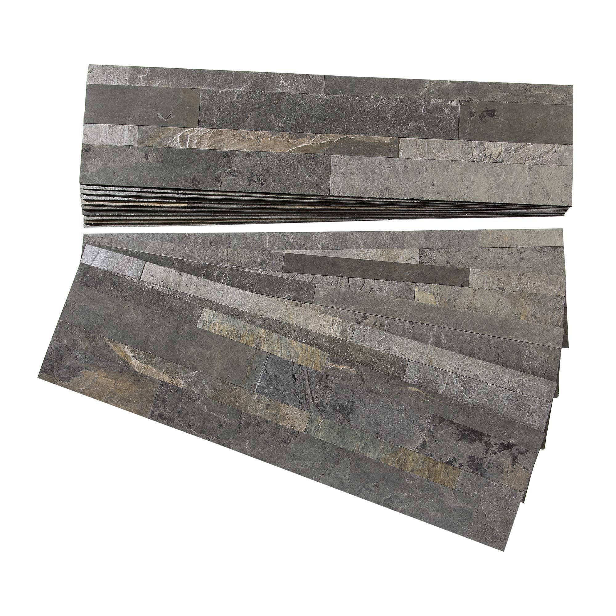Aspect Peel and Stick Stone Overlay Kitchen Backsplash - Iron Slate (Approx. 15 sq ft Kit) - Easy DIY Tile Backsplash