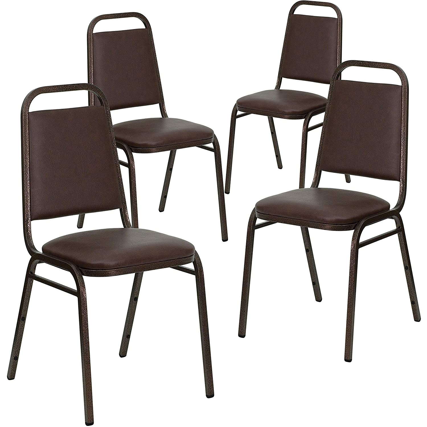 Flash Furniture 4 Pk. HERCULES Series Trapezoidal Back Stacking Banquet Chair in Brown Vinyl – Copper Vein Frame