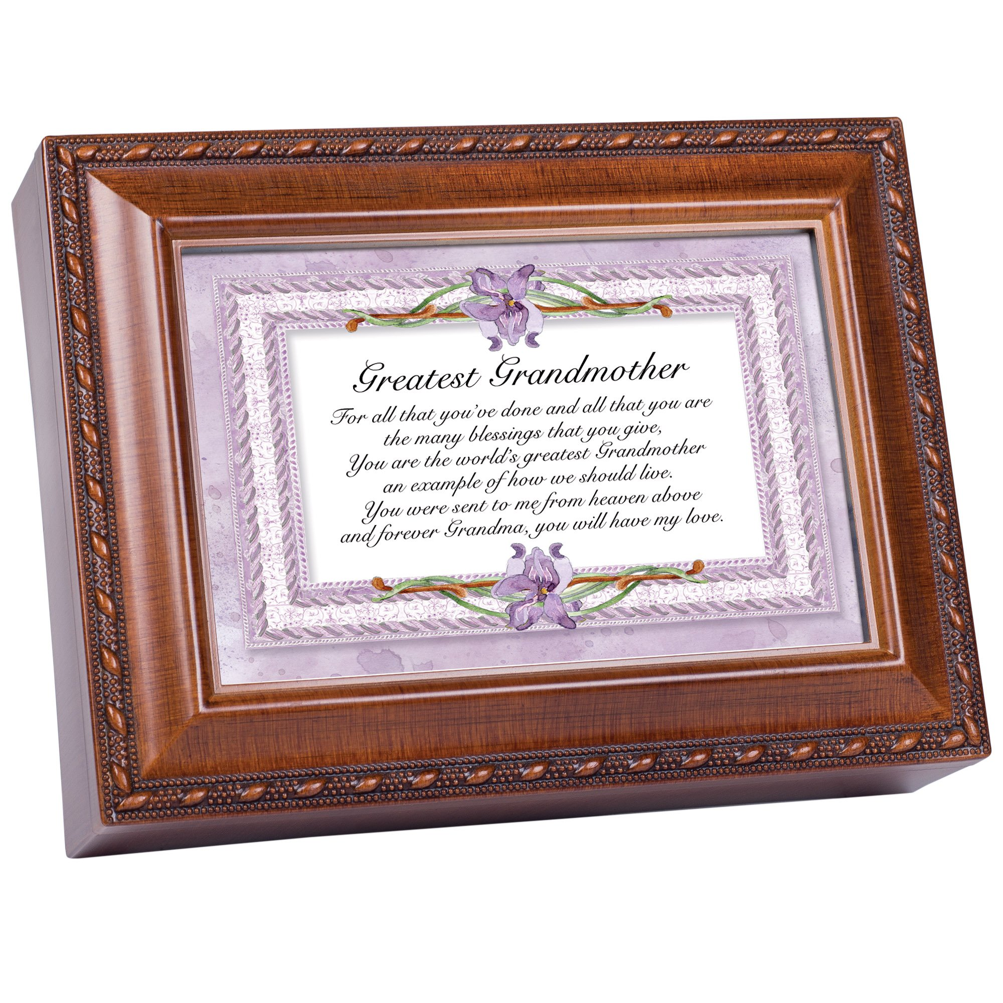 Cottage Garden Greatest Grandmother Woodgrain Music Box Plays Wind Beneath Wings