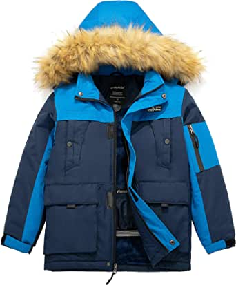 Wantdo Chaqueta de Esquí Montaña Impermeable Abrigo para Exteriores Snowboard Parka con Capucha de Nieve Invierno Chaqueta Cálida Aislada con Vellón para Niño