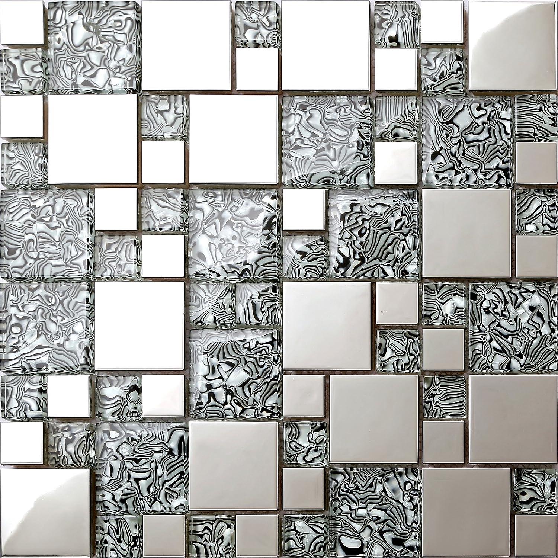 Glas mit folien effekt und Edelstahl Mosaik Fliesen Matte in Schwarz und Silber 30cm x 30cm x 8mm MT0132
