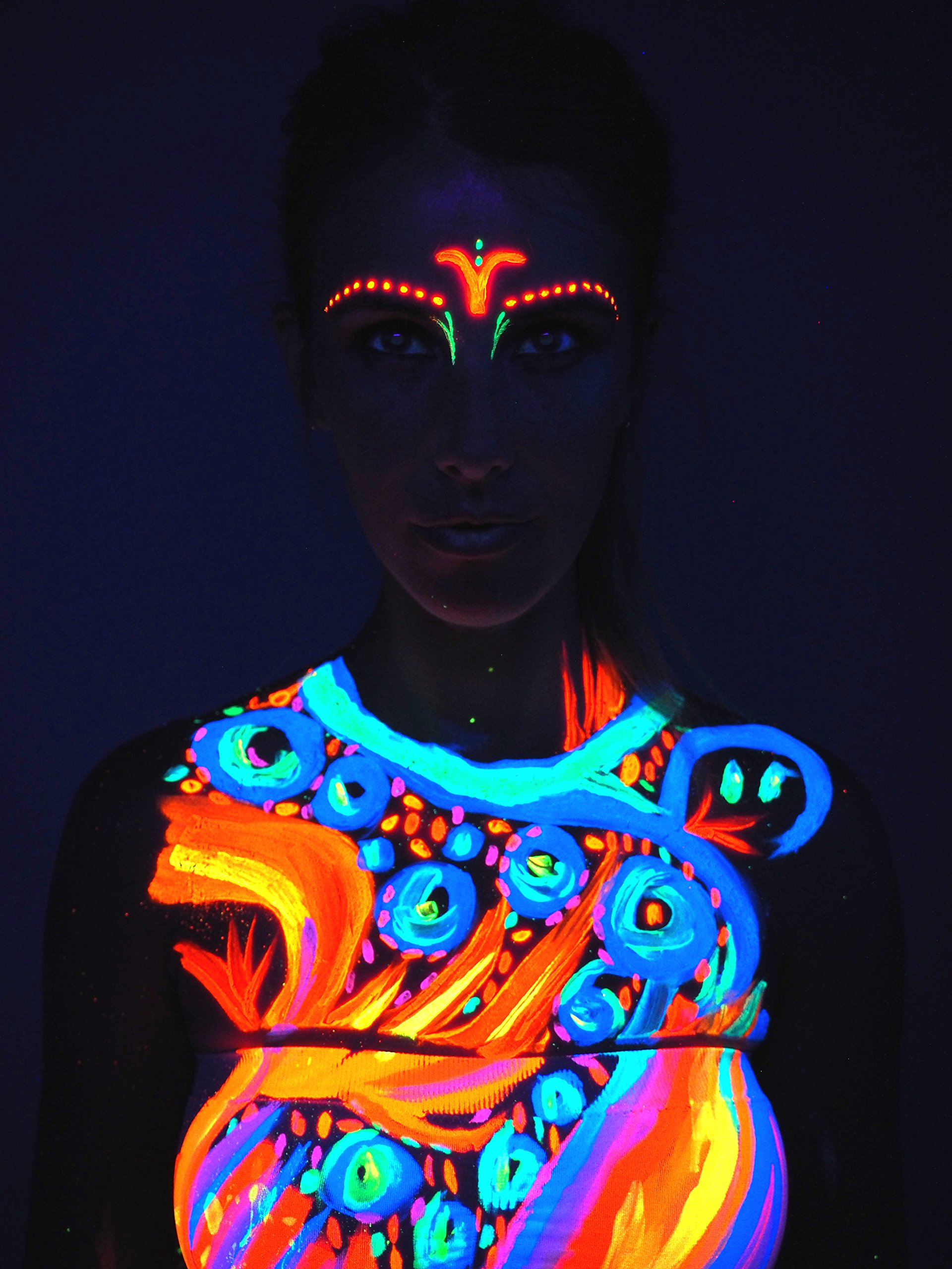 Neon Glow Blacklight Body Paint #1 Premium Set (6 pack of 2 oz. bottles) Glows Brighter, UV Reactive- Safe and Non-Toxic! Fluorescent Set Dries Quickly, Goes on Smooth, Not Clumpy by Neon Glow (Image #5)