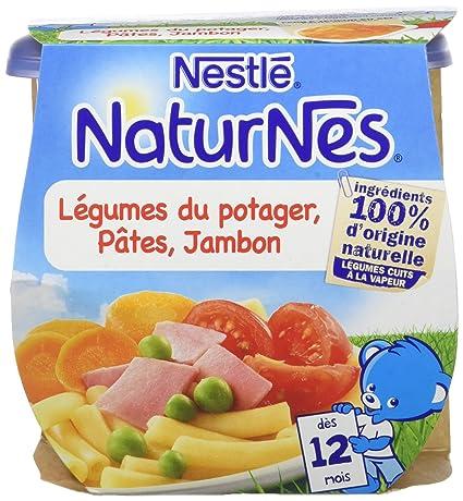 0e0c477af70 Nestlé Bébé Naturnes Légumes du Potager Pâtes Jambon - Plat Complet dès 12  Mois - 2 x 200g - Lot de 4  Amazon.fr  Epicerie
