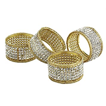 Amazon Elegance Napkin Rings with Crystal Gold Set of 4