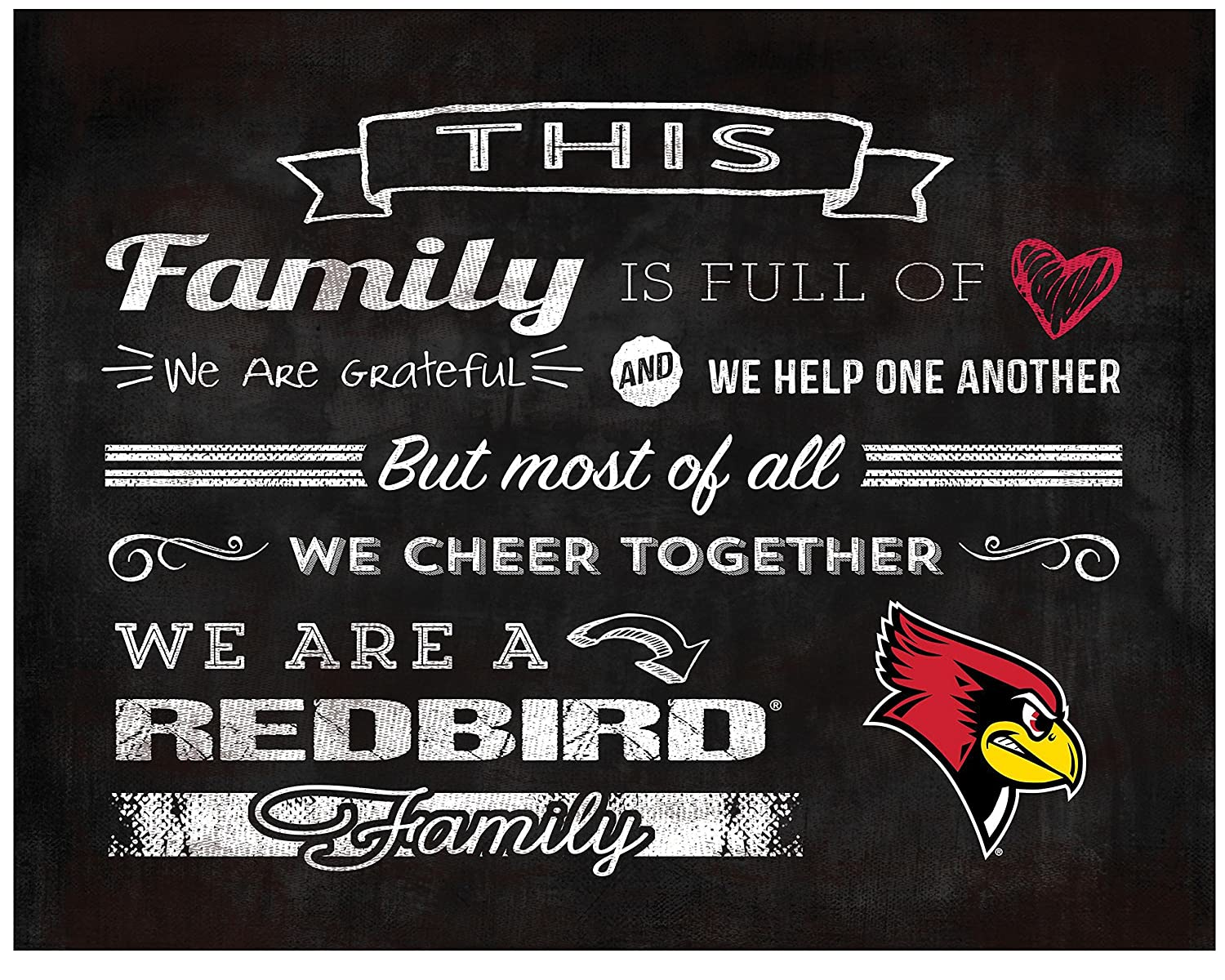 KH Sports Fan 9.75X7.75 Illinois State Redbirds Family Cheer Collage Light Box Insert