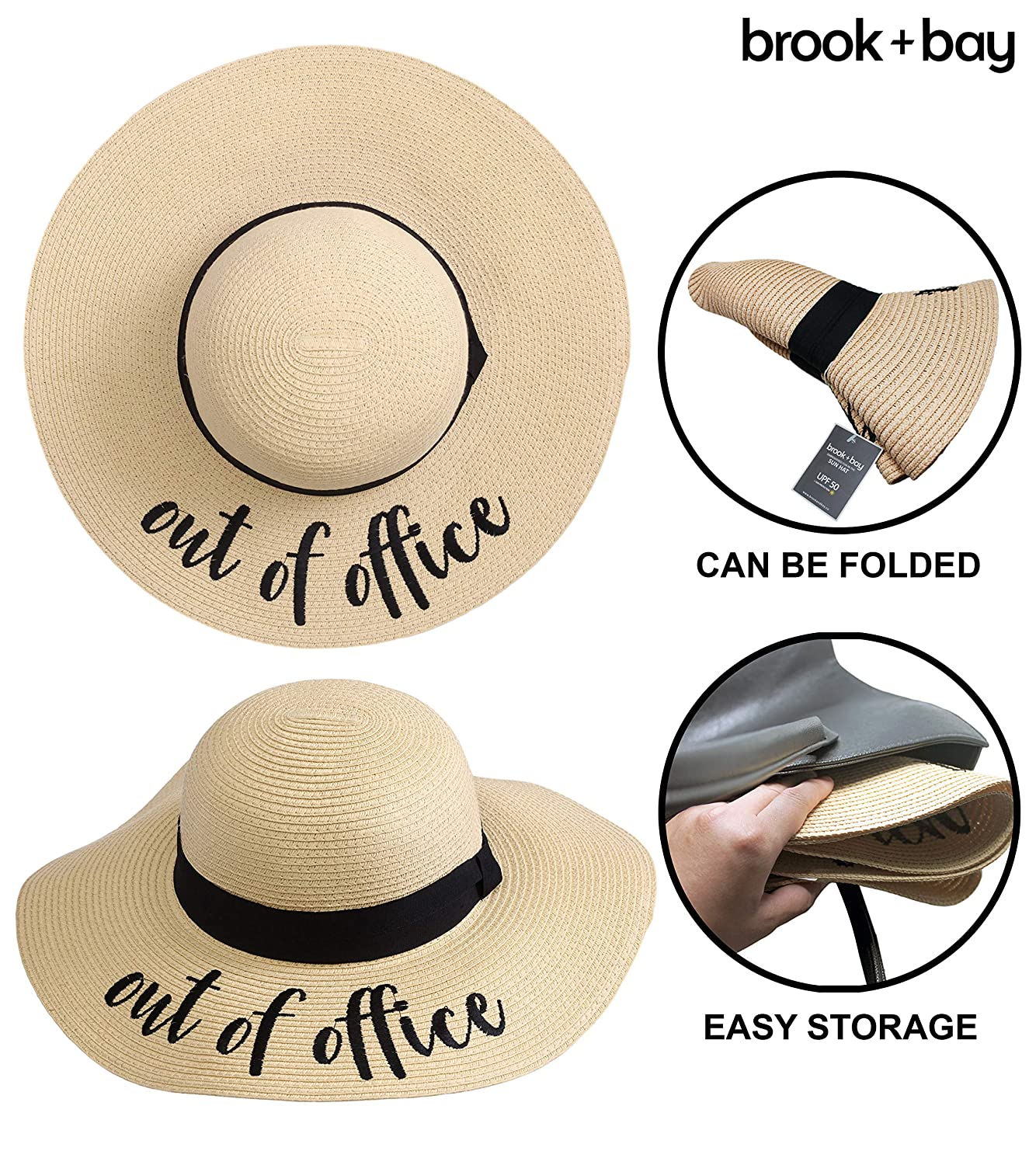 Large Brim Embroidered Summer Straw Hat for Vacation Cruises Honeymoon /& Travel Floppy Beach Sun Hat for Women