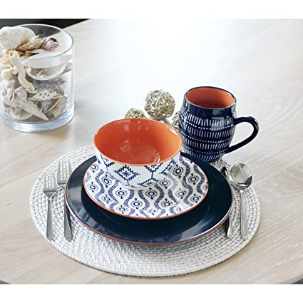 Amazon.com | Baum Tangiers 16-Piece Dinnerware Set in Navy ...