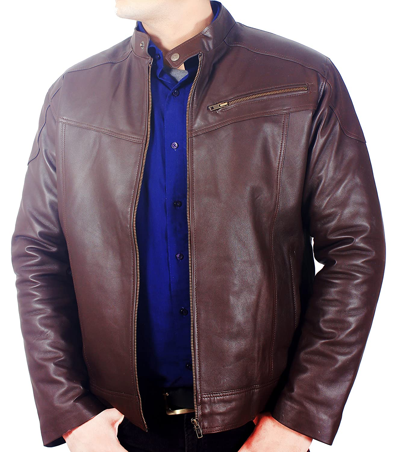 3a63f3d58 Classic Brown Stand Collar Original Genuine Lambskin Soft Leather Jacket  for Men