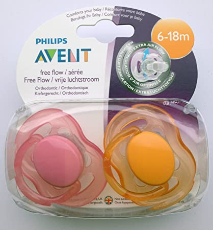 Philips Avent Free Flow: 2 x Chupetes 6-18m (Rosado ...