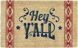 "DII CAMZ10853 Indoor/Outdoor Natural Coir Easy Clean Rubber Back Entry Way Doormat for Patio, Front, Weather Exterior Doors, 18x30"", Hey Y'All"