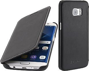 StilGut Book Type Case, custodia in pelle per Samsung Galaxy S7 edge, Nero Nappa
