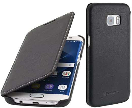 2 opinioni per StilGut Book Type Case, custodia in pelle per Samsung Galaxy S7 edge, Nero Nappa