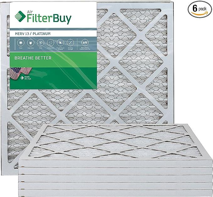 FilterBuy 8x16x2 MERV 13 Pleated AC Furnace Air Filter, Platinum Pack of 12 Filters 8x16x2